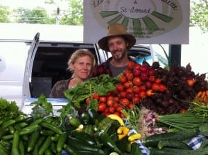 Jean Martin and Maude-Hélène at farmers market